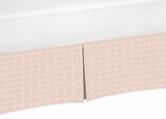 Blush Pink and White Chevron Arrow Girl Pleated Baby Crib Bed Skirt Dust Ruffle for Watercolor Elephant Safari Collection by Sweet Jojo Designs