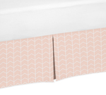 Blush Pink and White Chevron Arrow Pleated Queen Bed Skirt Dust Ruffle for Watercolor Elephant Safari Collection by Sweet Jojo Designs