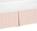 Blush Pink and White Chevron Arrow Pleated Toddler Bed Skirt Dust Ruffle for Watercolor Elephant Safari Collection by Sweet Jojo Designs