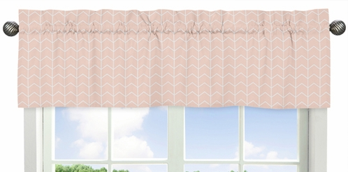 Blush Pink and White Chevron Arrow Window Treatment Valance for Watercolor Elephant Safari Collection by Sweet Jojo Designs - Click to enlarge