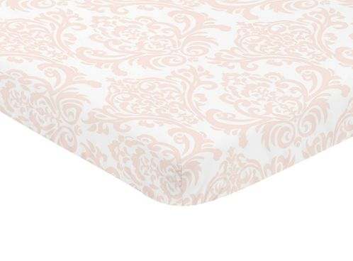 Blush Pink and White Damask Baby Fitted Mini Portable Crib Sheet for Amelia Collection by Sweet Jojo Designs - Click to enlarge
