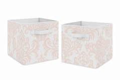Blush Pink and White Damask Organizer Storage Bins for Amelia Collection by Sweet Jojo Designs - Set of 2