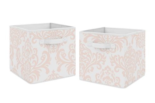 Blush Pink and White Damask Organizer Storage Bins for Amelia Collection by Sweet Jojo Designs - Set of 2 - Click to enlarge