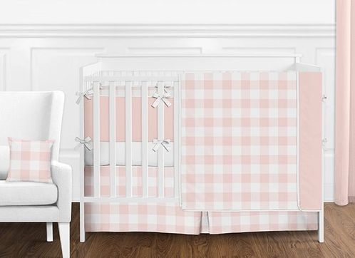 Blush Pink and White Rustic Country Buffalo Plaid Check Baby Girl Crib Bedding Set with Bumper by Sweet Jojo Designs - 9 pieces - Click to enlarge