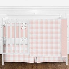 Blush Pink and White Rustic Country Buffalo Plaid Check Baby Girl Crib Bedding Set with Bumper by Sweet Jojo Designs - 9 pieces