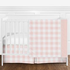 Blush Pink and White Rustic Country Buffalo Plaid Check Baby Girl Crib Bedding Set without Bumper by Sweet Jojo Designs - 4 pieces