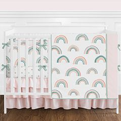 Blush Pink, Aqua Blue, Coral, Gold and White Colorful Rainbow Sky Baby Girl Nursery Crib Bedding Set with Bumper by Sweet Jojo Designs - 9 pieces - Pastel Celestial Star