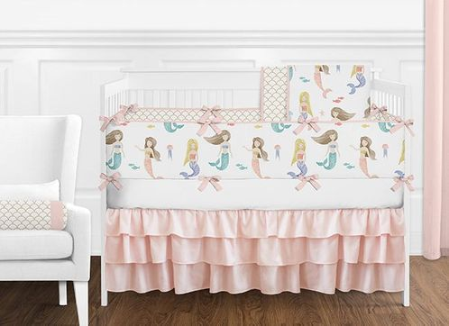Blush Pink, Blue, Gold and White Watercolor Ocean Mermaid Baby Girl Crib Bedding Set with Bumper by Sweet Jojo Designs - 9 pieces - Click to enlarge