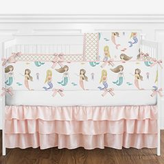 Blush Pink, Blue, Gold and White Watercolor Ocean Mermaid Baby Girl Crib Bedding Set with Bumper by Sweet Jojo Designs - 9 pieces