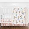 Blush Pink, Blue , Gold and White Watercolor Ocean Mermaid Baby Girl Crib Bedding Set without Bumper by Sweet Jojo Designs - 4 pieces