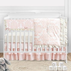 Blush Pink Damask Baby Girl Nursery Crib Bedding Set by Sweet Jojo Designs - 5 pieces - Gold and White Polka Dot Amelia