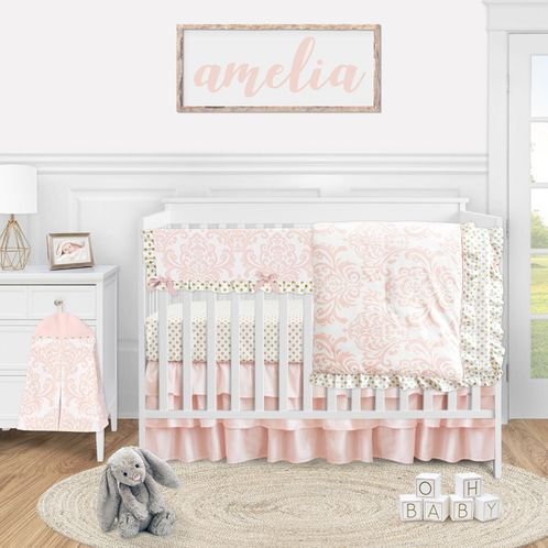 Blush Pink Damask Baby Girl Nursery Crib Bedding Set by Sweet Jojo Designs - 5 pieces - Gold and White Polka Dot Amelia - Click to enlarge