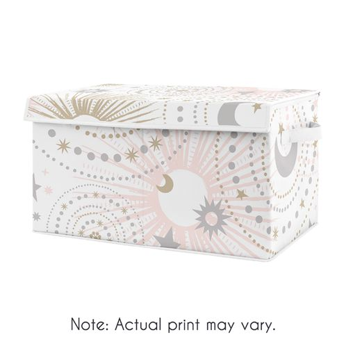 Blush Pink, Gold and Grey Star and Moon Girl Baby Nursery or Kids Room Small Fabric Toy Bin Storage Box Chest for Celestial Collection by Sweet Jojo Designs - Click to enlarge