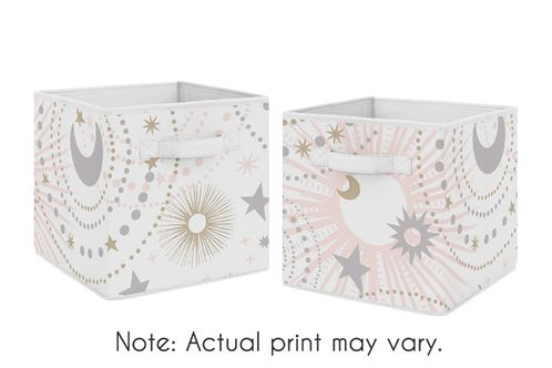 Blush Pink, Gold and Grey Star and Moon Organizer Storage Bins for Celestial Collection by Sweet Jojo Designs - Set of 2 - Click to enlarge