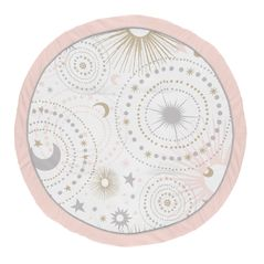 Blush Pink, Gold and Grey Star and Moon Playmat Tummy Time Baby and Infant Play Mat for Celestial Collection by Sweet Jojo Designs