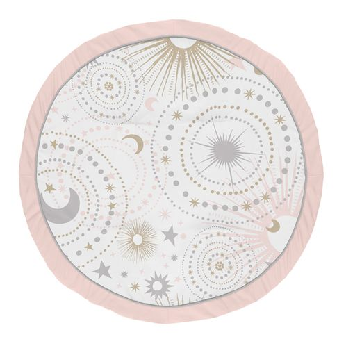 Blush Pink, Gold and Grey Star and Moon Playmat Tummy Time Baby and Infant Play Mat for Celestial Collection by Sweet Jojo Designs - Click to enlarge