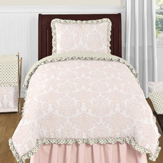 Blush Pink, Gold and White Amelia 4pc Twin Girls Bedding Set  by Sweet Jojo Designs