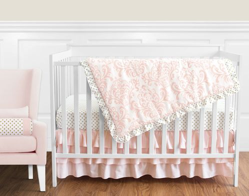 Blush Pink, Gold and White Amelia Baby Bedding - 11pc Girls Crib Set by Sweet Jojo Designs - Click to enlarge