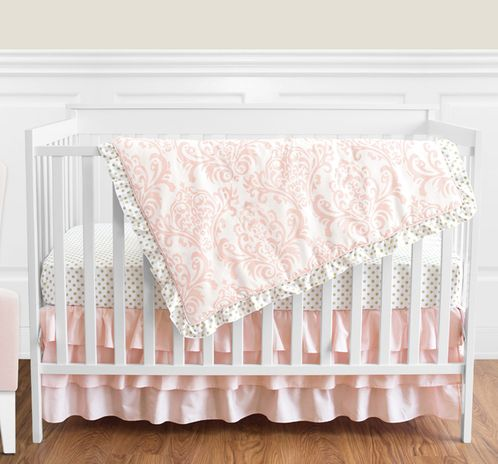 Blush Pink, Gold and White Amelia Baby Bedding - 4pc Girls Crib Set by Sweet Jojo Designs - Click to enlarge