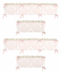 Blush Pink, Gold and White Amelia Collection Crib Bumper by Sweet Jojo Designs