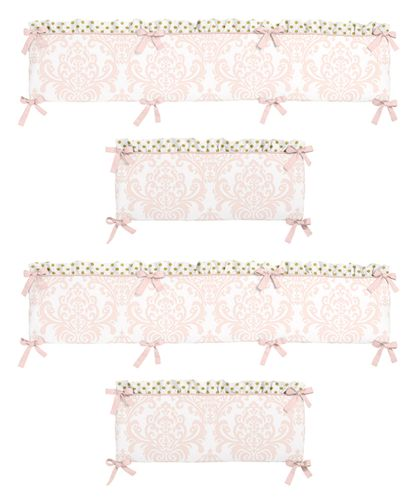 Blush Pink, Gold and White Amelia Collection Crib Bumper by Sweet Jojo Designs - Click to enlarge