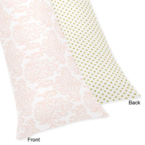 Blush Pink, Gold and White Amelia Full Length Double Zippered Body Pillow Case Cover by Sweet Jojo Designs - Click to enlarge