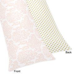 Blush Pink, Gold and White Amelia Full Length Double Zippered Body Pillow Case Cover by Sweet Jojo Designs