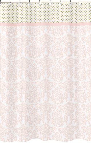 Blush Pink, Gold and White Amelia Kids Bathroom Fabric Bath Shower Curtain - Click to enlarge