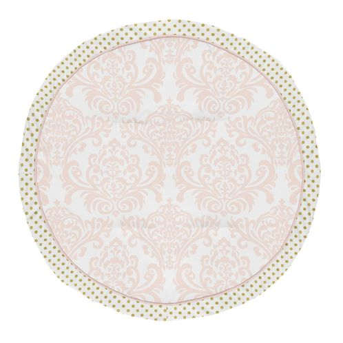 Blush Pink, Gold and White Damask and Polka Dot Playmat Tummy Time Baby and Infant Play Mat for Amelia Collection by Sweet Jojo Designs - Click to enlarge