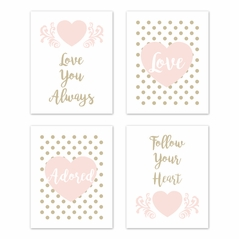 Blush Pink, Gold and White Polka Dot Heart Wall Art Prints Room Decor for Baby, Nursery, and Kids for Amelia Collection by Sweet Jojo Designs - Set of 4 - Love You Always, Follow Your Heart