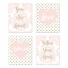 Blush Pink, Gold and White Damask Heart Wall Art Prints Room Decor for Baby, Nursery, and Kids for Amelia Collection by Sweet Jojo Designs - Set of 4 - You are Loved, Follow Your Heart