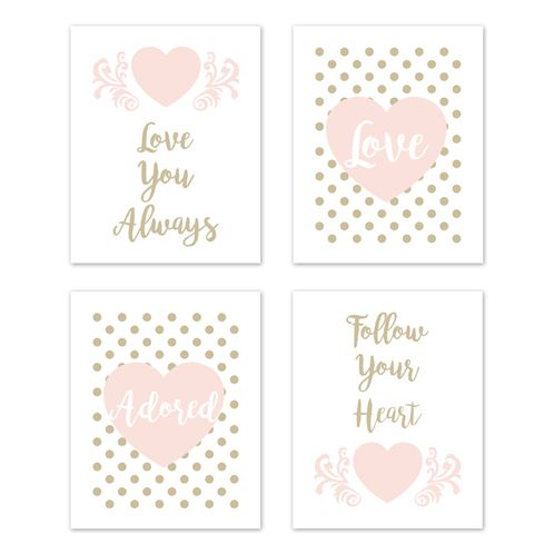 Blush Pink, Gold and White Polka Dot Heart Wall Art Prints Room Decor for Baby, Nursery, and Kids for Amelia Collection by Sweet Jojo Designs - Set of 4 - Love You Always, Follow Your Heart - Click to enlarge