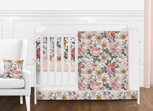 Blush Pink, Gold and White Shabby Chic Boho Vintage Floral Baby Girl Nursery Crib Bedding Set with Bumper by Sweet Jojo Designs - 9 pieces - Rose Flower - Click to enlarge