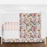 Blush Pink, Gold and White Shabby Chic Boho Vintage Floral Baby Girl Nursery Crib Bedding Set without Bumper by Sweet Jojo Designs - 4 pieces - Rose Flower