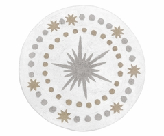 Blush Pink, Gold, Grey and White Star and Moon Accent Floor Rug or Bath Mat for Celestial Collection by Sweet Jojo Designs