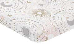 Blush Pink, Gold, Grey and White Star and Moon Baby Fitted Mini Portable Crib Sheet for Celestial Collection by Sweet Jojo Designs