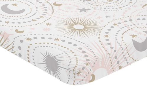 Blush Pink, Gold, Grey and White Star and Moon Baby Fitted Mini Portable Crib Sheet for Celestial Collection by Sweet Jojo Designs - Click to enlarge