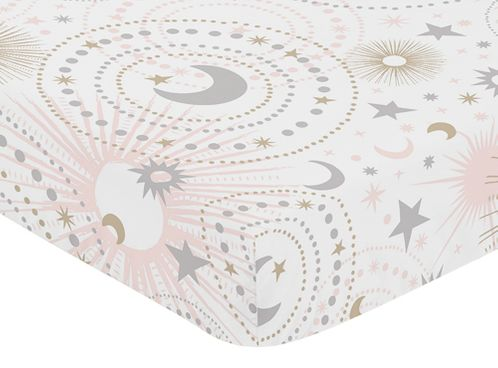 Blush Pink, Gold, Grey and White Star and Moon Baby or Toddler Fitted Crib Sheet for Celestial Collection by Sweet Jojo Designs - Click to enlarge