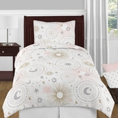 Blush Pink, Gold, Grey and White Star and Moon Celestial Girl Twin Kid Childrens Bedding Comforter Set by Sweet Jojo Designs - 4 pieces