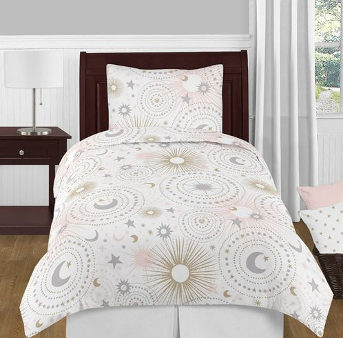 Blush Pink, Gold, Grey and White Star and Moon Celestial Girl Twin Kid Childrens Bedding Comforter Set by Sweet Jojo Designs - 4 pieces - Click to enlarge