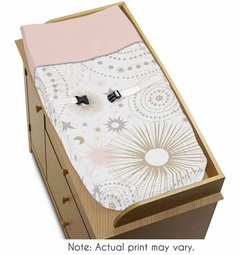 Blush Pink, Gold, Grey and White Star and Moon Changing Pad Cover for Celestial Collection by Sweet Jojo Designs