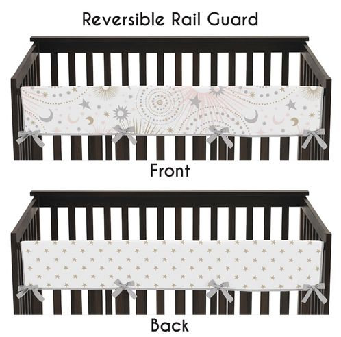 Blush Pink, Gold, Grey and White Star and Moon Long Front Crib Rail Guard Baby Teething Cover Protector Wrap for Celestial Collection by Sweet Jojo Designs - Click to enlarge
