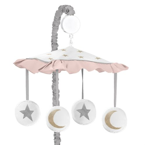 Blush Pink, Gold, Grey and White Star and Moon Musical Baby Crib Mobile for Celestial Collection by Sweet Jojo Designs - Click to enlarge