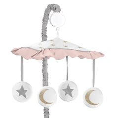 Blush Pink, Gold, Grey and White Star and Moon Musical Baby Crib Mobile for Celestial Collection by Sweet Jojo Designs