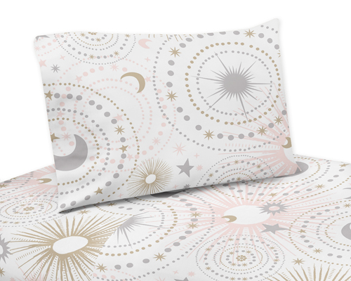 White Star And Moon Queen Sheet Set, Pink And Gold Star Bedding