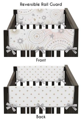 Blush Pink, Gold, Grey and White Star and Moon Side Crib Rail Guards Baby Teething Cover Protector Wrap for Celestial Collection by Sweet Jojo Designs - Set of 2 - Click to enlarge