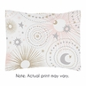 Blush Pink, Gold, Grey and White Star and Moon Standard Pillow Sham for Celestial Collection by Sweet Jojo Designs