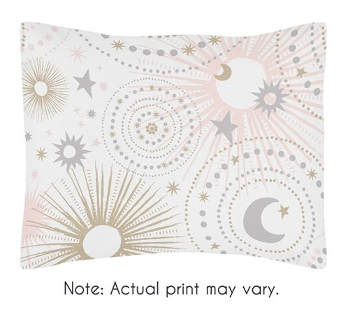 Blush Pink, Gold, Grey and White Star and Moon Standard Pillow Sham for Celestial Collection by Sweet Jojo Designs - Click to enlarge