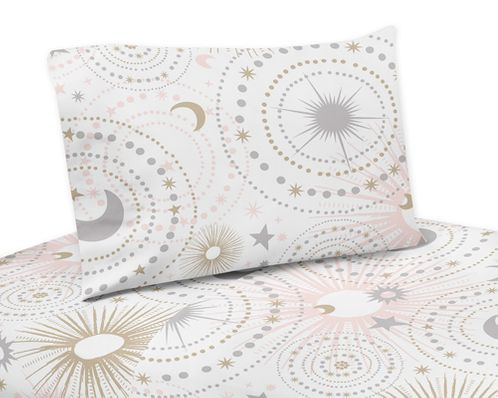 Blush Pink, Gold, Grey and White Star and Moon Twin Sheet Set for Celestial Collection by Sweet Jojo Designs - 3 piece set - Click to enlarge