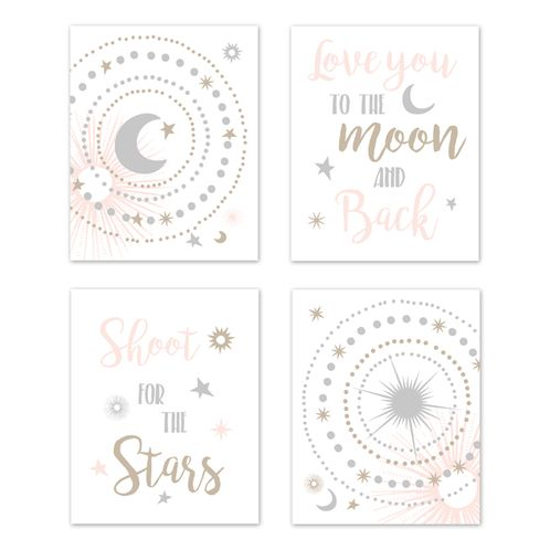 Blush Pink Gold Grey And White Star Moon Wall Art Prints Room Decor For Baby